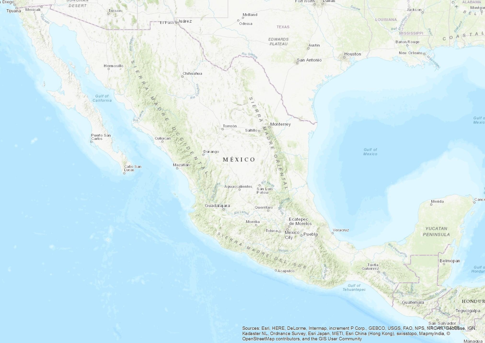 Topo-Mexico-ESRI