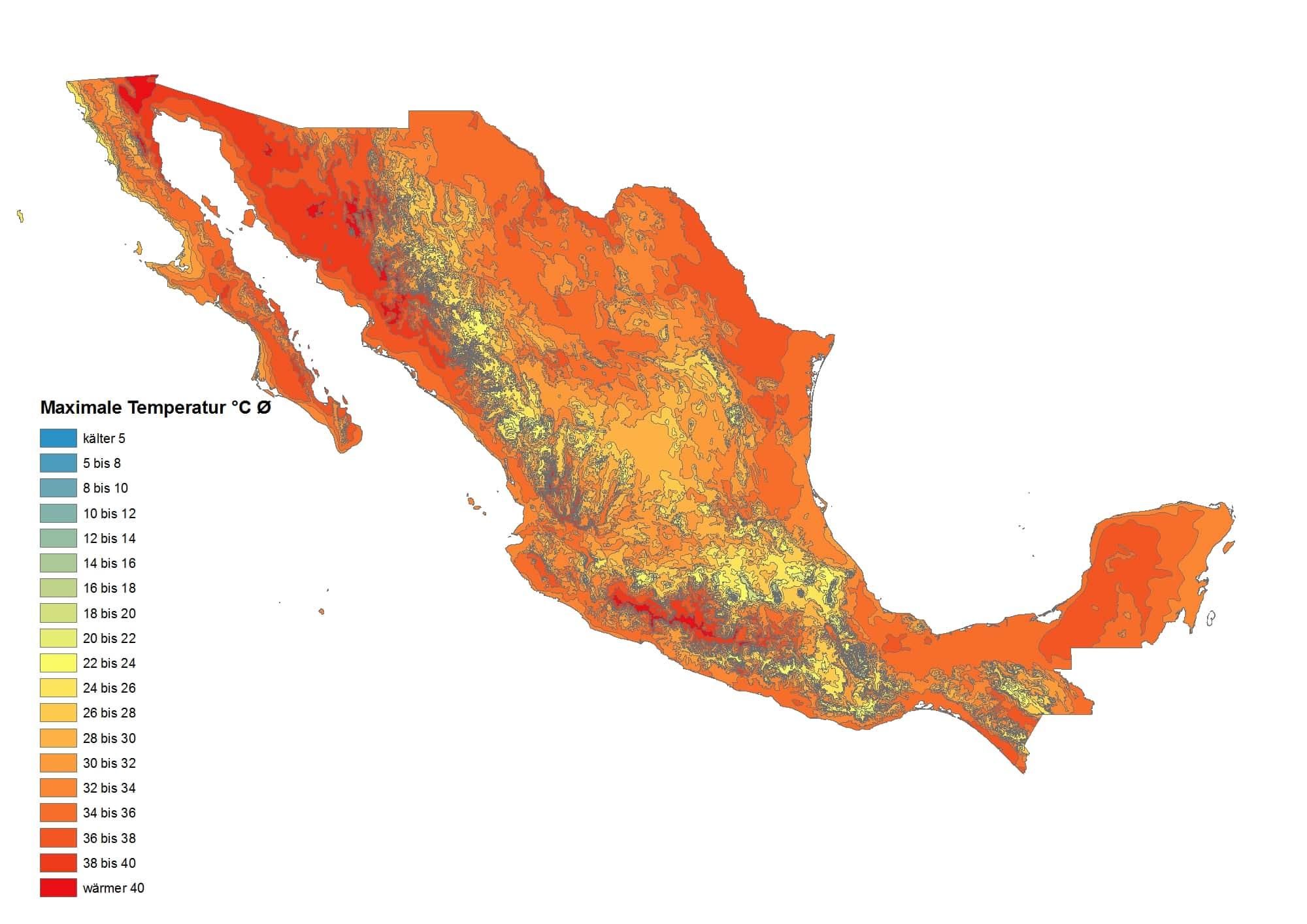 maximalen durchschnittlichen Temperaturen in Mexiko